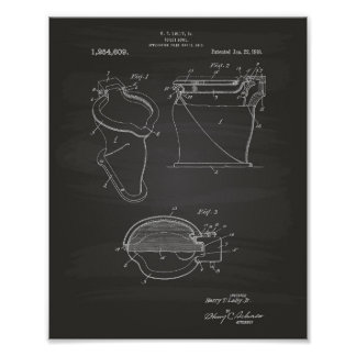 Toilet Bowl 1918 Patent Art Chalkboard Poster