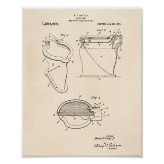 Toilet Bowl 1918 Patent Art Old Peper Poster