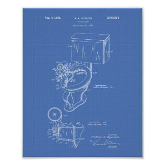 Toilet Bowl 1936 Patent Art Blueprint Poster