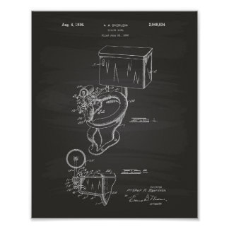 Toilet Bowl 1936 Patent Art Chalkboard Poster