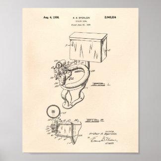 Toilet Bowl 1936 Patent Art Old Peper Poster