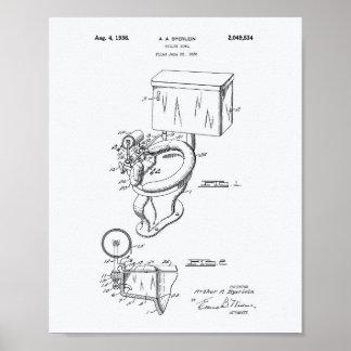 Toilet Bowl 1936 Patent Art White Paper Poster