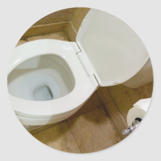 Toilet bowl classic round sticker