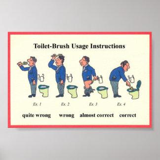 Toilet Brush Instructions Poster