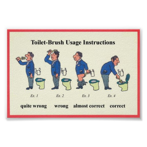 toilet brush instructions poster. Black Bedroom Furniture Sets. Home Design Ideas