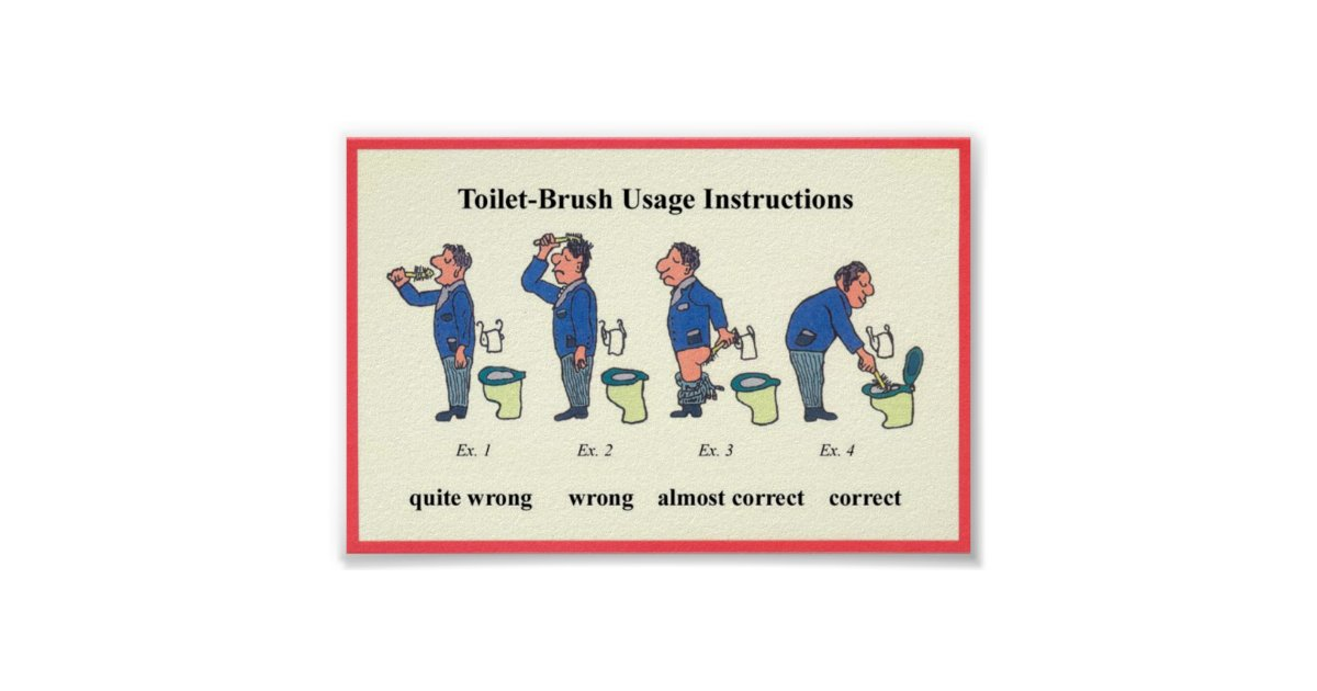 Toilet Brush Instructions Poster | Zazzle