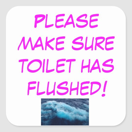 Toilet Flushing Reminder Pink Sticker