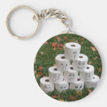 Toilet Paper Bowling Basic Round Button Keychain