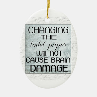 toilet paper humor Double-Sided oval ceramic christmas ornament