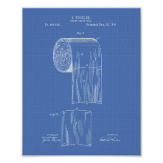 Toilet Paper Roll 1891 Patent Art - Blueprint Poster