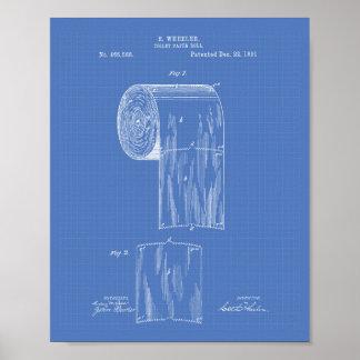 Toilet Paper Roll 1891 Patent Art - Blueprint Poster