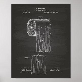 Toilet Paper Roll 1891 Patent Art - Chalkboard Poster