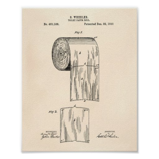 Toilet Paper Roll 1891 Patent Art Old Peper Poster Zazzle