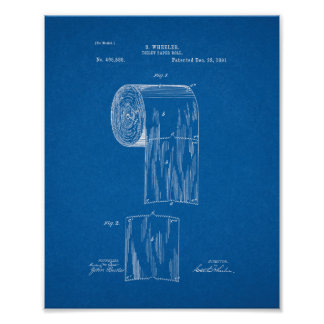 Toilet Paper Roll Patent - Blueprint Poster