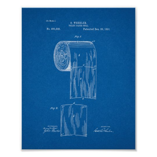Toilet paper roll patent blueprint poster zazzle toilet paper roll patent blueprint poster malvernweather Images