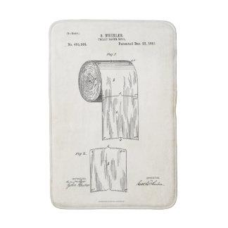 Toilet Paper Roll Patent Print Bath Mat