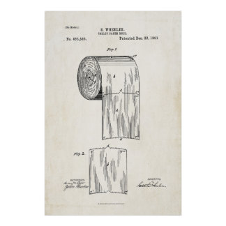 Toilet Paper Roll Patent Print Poster