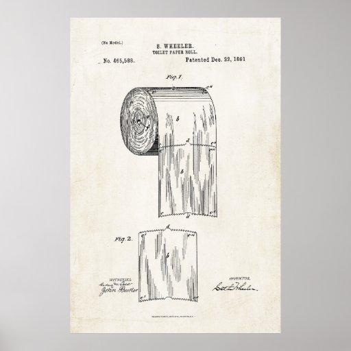 Toilet Paper Roll Patent Print Poster Zazzle