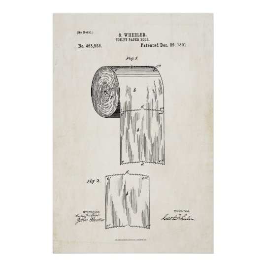 Toilet Paper Roll Patent Print Poster Zazzle Com