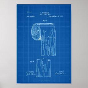 Toilet Paper Roll Patent Print Poster Blueprint