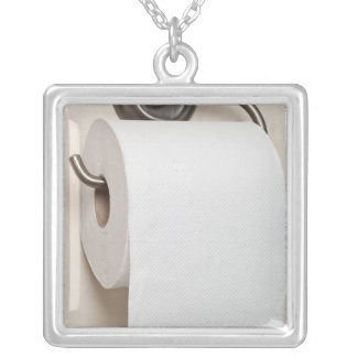 Toilet paper silver plated necklace