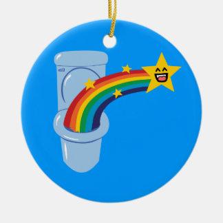 Toilet Rainbow Double-Sided Ceramic Round Christmas Ornament