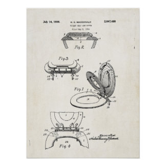 Toilet Seat and Cover 1936 Patent Print Poster