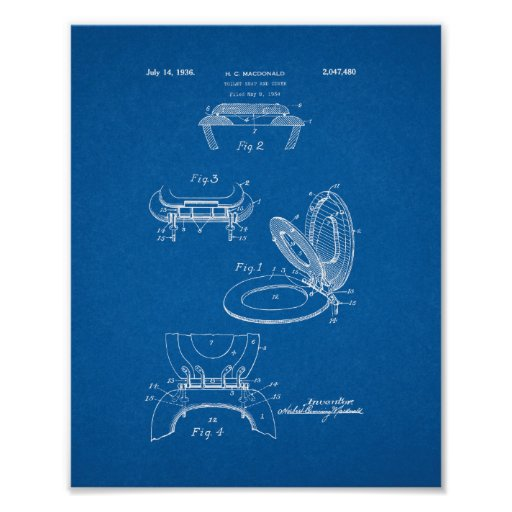 Toilet Seat And Cover Patent Blueprint Poster Zazzle