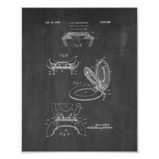 Toilet Seat And Cover Patent - Chalkboard Poster