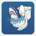 Toilet Shark Funny Blue Cartoon Sticker