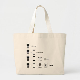 toilet timing with cell phone large tote bag