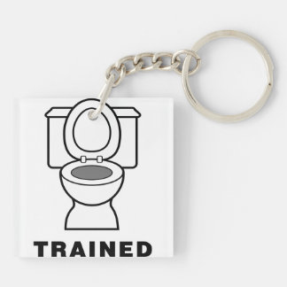 Toilet Trained Double-Sided Square Acrylic Keychain