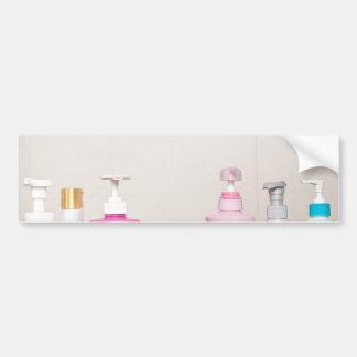 Toiletry bottles in bathroom bumper sticker