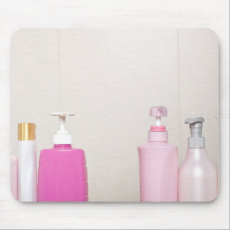 Toiletry bottles in bathroom mouse pad