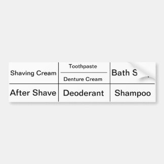 Toiletry Labels for Men Bumper Sticker