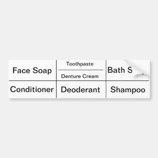 Toiletry Labels for Women Bumper Sticker