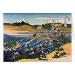 Tokaido Kanaya ningún Fuji, Katsushika Hokusai Tarjetón