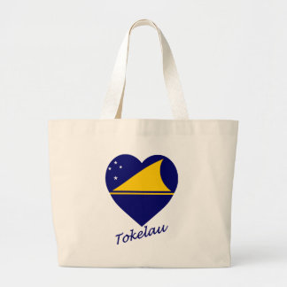 Tokelau Flag Heart Canvas Bags