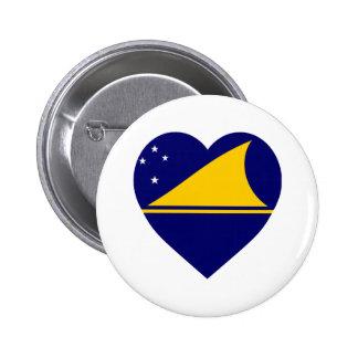 Tokelau Flag Heart Button