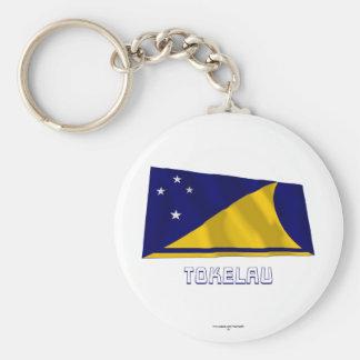 Tokelau Waving Flag with Name Keychain