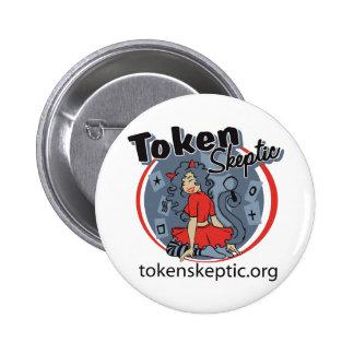 Token Skeptic Roller Derby Logo Pinback Buttons