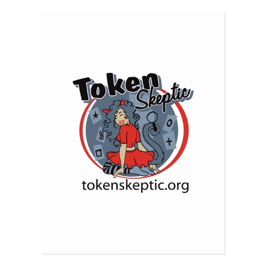 Token Skeptic Roller Derby Logo Postcard