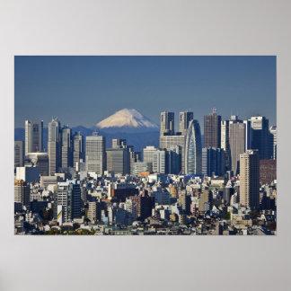 Tokio, horizonte del distrito de Shinjuku, el mont Póster