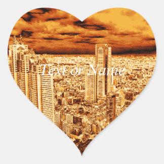 Tokio, luz de oro calcomanía de corazón personalizadas