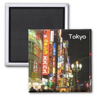 Tokio por noche imán cuadrado