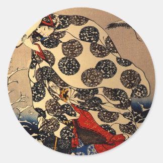 Tokiwa Gozen fleeing with her children Classic Round Sticker