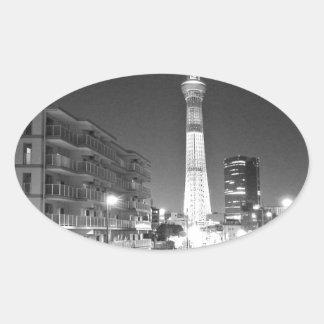 tokoy modern art tokyo skytree 2016 oval sticker