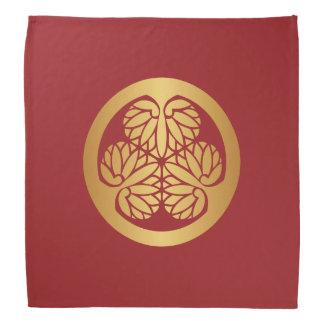 Tokugawa Aoi Mon Japanese Family Crest Gold on Red Bandana