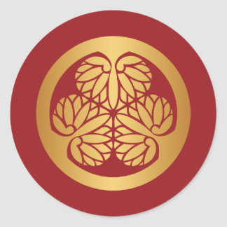 Tokugawa Aoi Mon Japanese Family Crest Gold on Red Classic Round Sticker