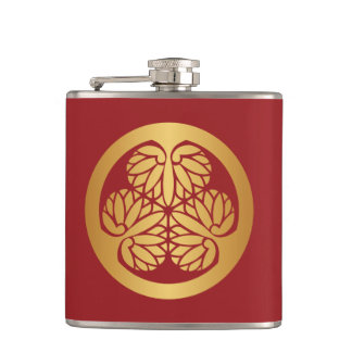 Tokugawa Aoi Mon Japanese Family Crest Gold on Red Hip Flasks